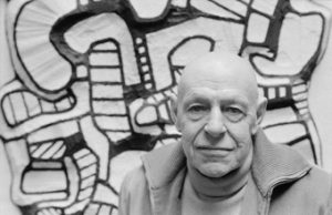May 1973, Vincennes, France --- Artist Jean Dubuffet with his modern art at his workshop at Vincennes Cartoucherie for the show Coucou Bazar. --- Image by © Pierre Vauthey/CORBIS SYGMA